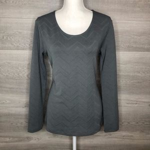 Slate Gray Cato Long Sleeve Top Size Medium
